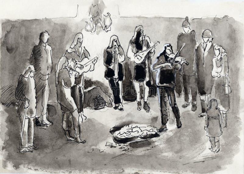 Musiciens de rue illustration de vecteur
