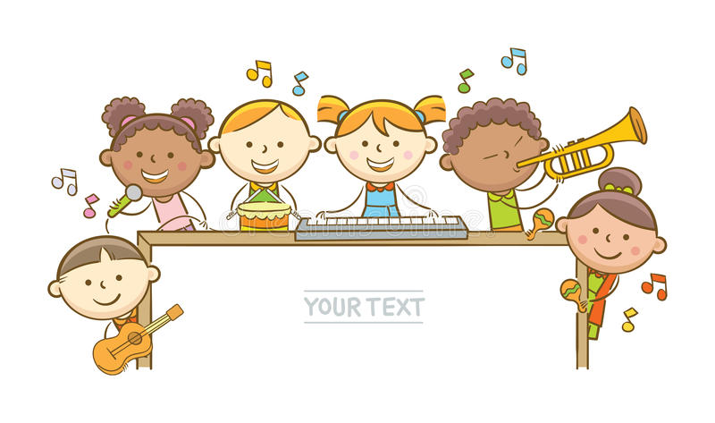Musiciens et tableau blanc d'enfant illustration stock