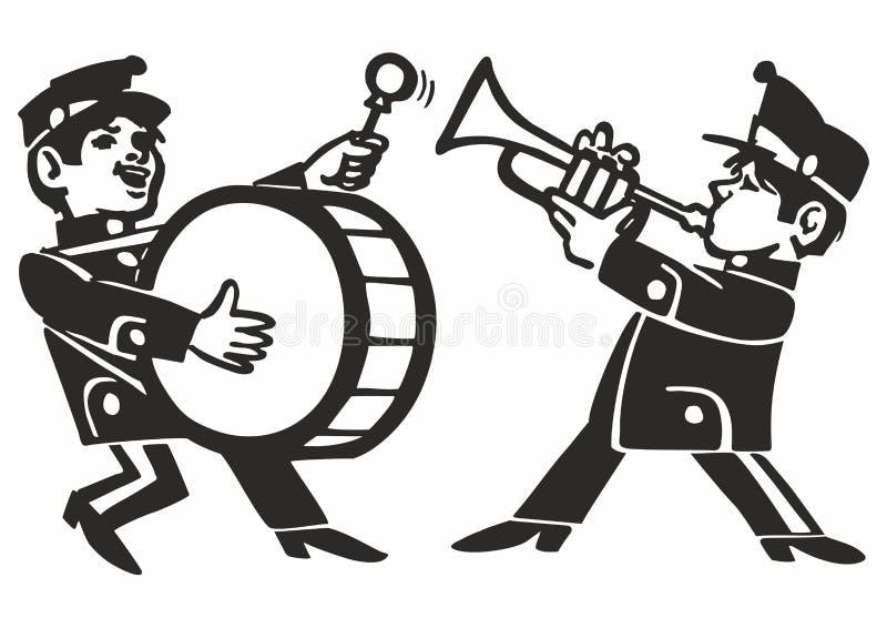 Musiciens jouant sur des instruments de musique Fond d'affiche de musique de vecteur illustration de vecteur