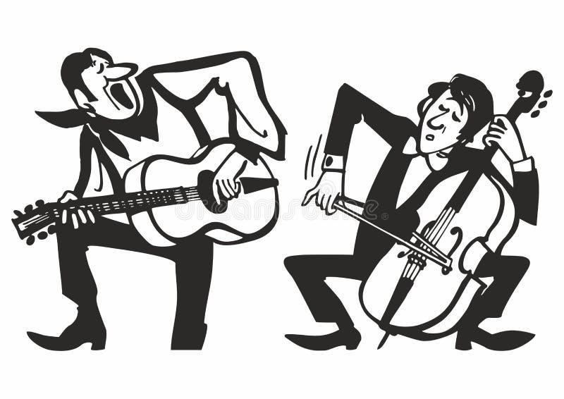 Musiciens jouant sur des instruments de musique Fond d'affiche de musique de vecteur illustration libre de droits