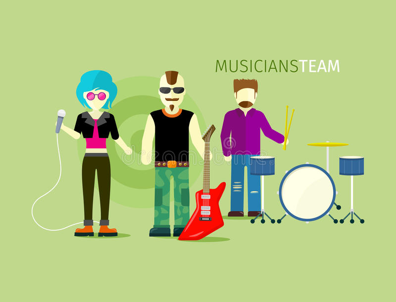 Musiciens Team People Group Flat Style illustration de vecteur