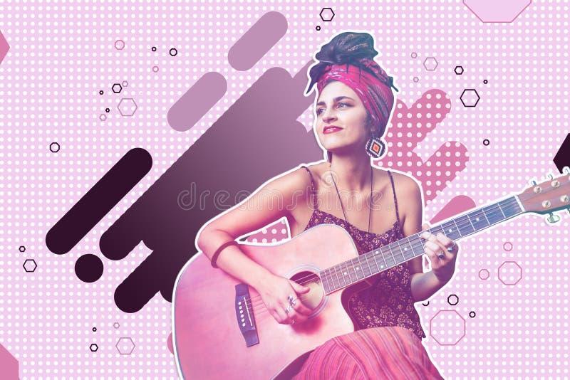 Musicista abbastanza giovane che gioca musica meravigliosa sulla chitarra immagini stock