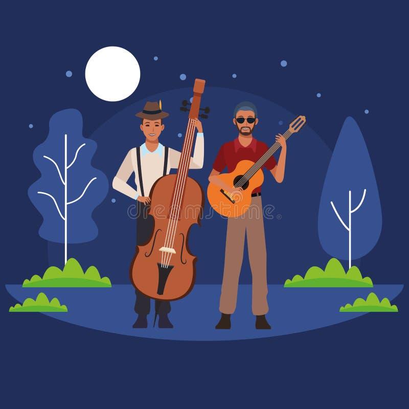 Musicista che gioca basso e chitarra illustrazione vettoriale