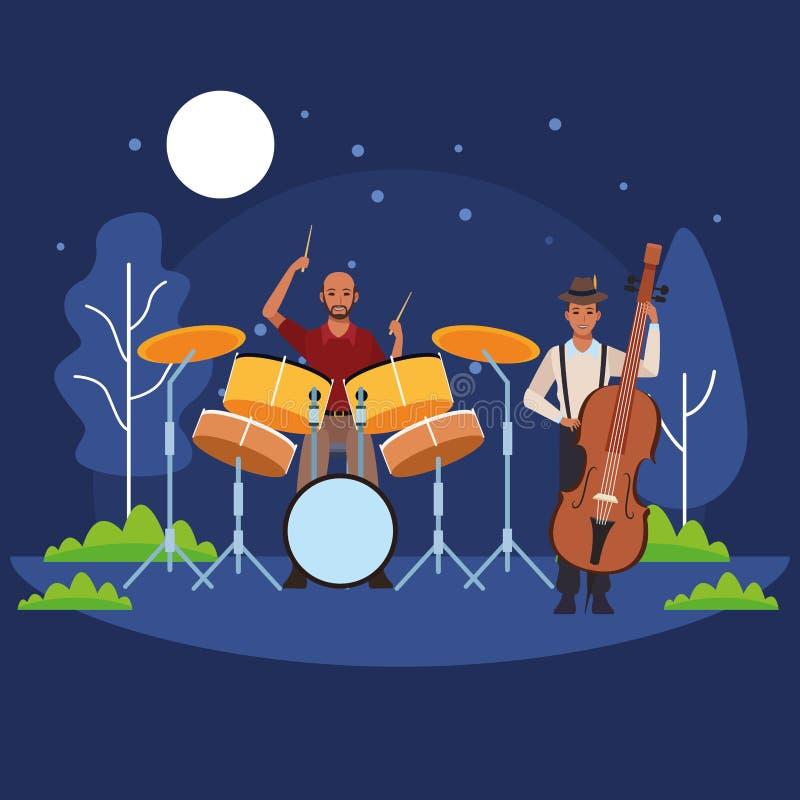 Musicista che gioca basso ed i tamburi illustrazione vettoriale