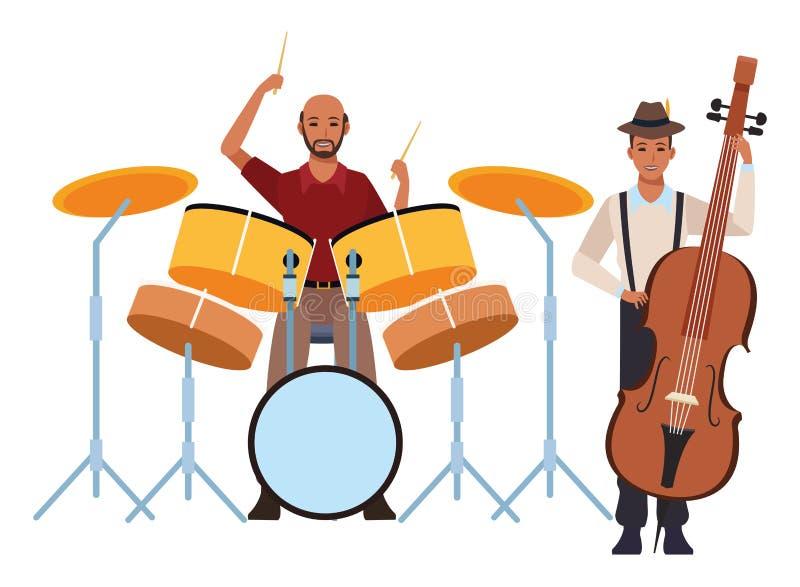 Musicista che gioca basso ed i tamburi illustrazione di stock