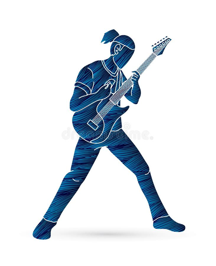 Musicista che gioca chitarra elettrica, banda di musica illustrazione di stock