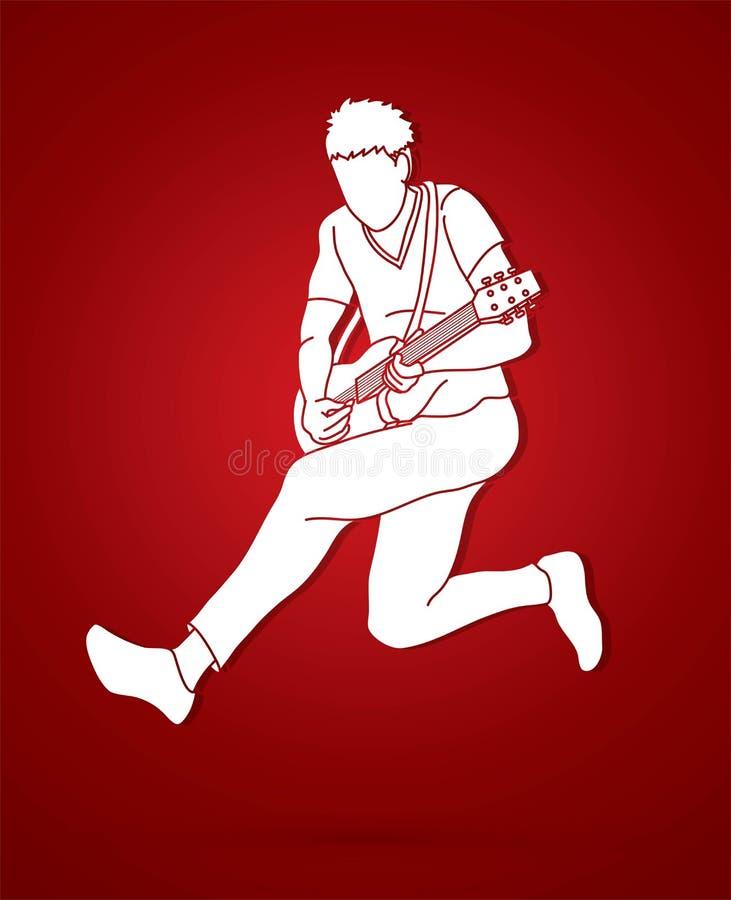 Musicista che gioca chitarra elettrica, grafico della banda di musica illustrazione di stock