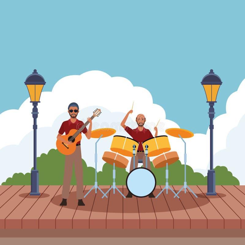 Musicista che gioca i tamburi e chitarra illustrazione di stock