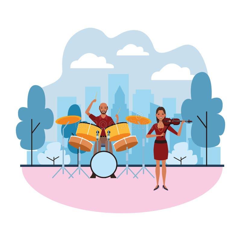Musicista che gioca i tamburi e violino illustrazione vettoriale