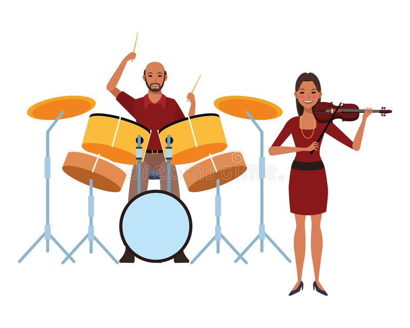 Musicista che gioca i tamburi e violino illustrazione di stock