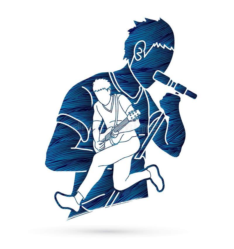 Musicista che gioca insieme musica, banda di musica, grafico dell'artista royalty illustrazione gratis