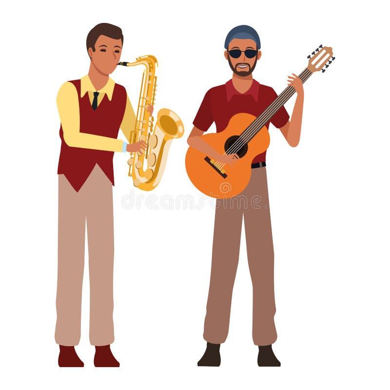 Musicista che gioca sassofono e chitarra royalty illustrazione gratis