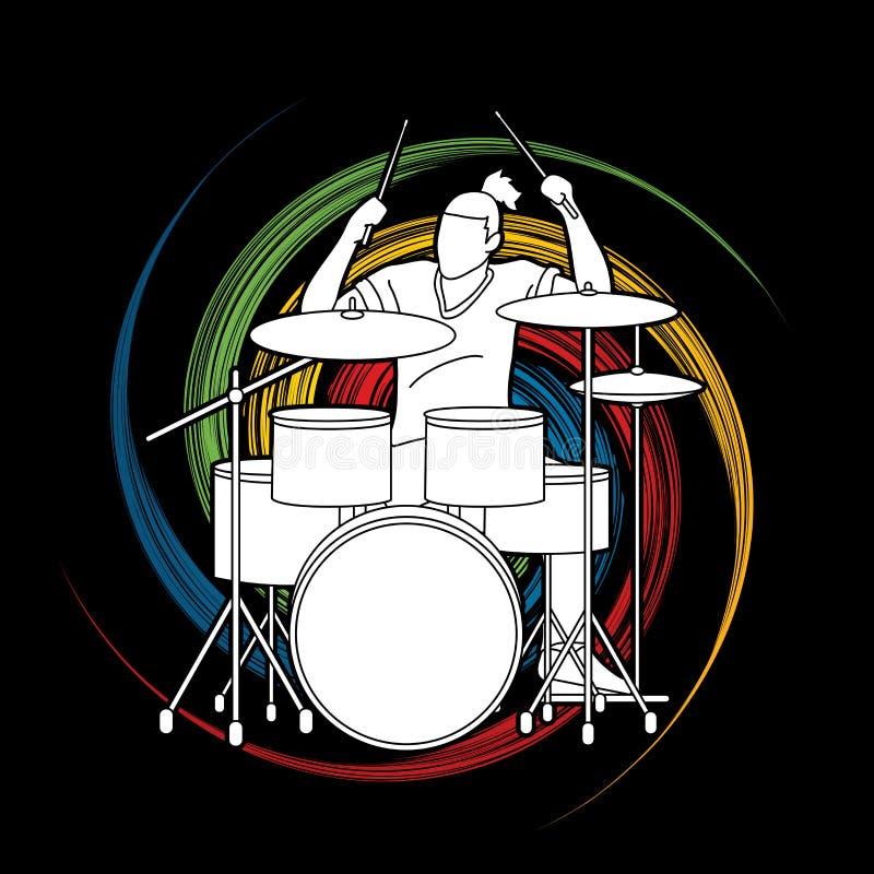 Musicista che gioca tamburo, banda di musica illustrazione vettoriale