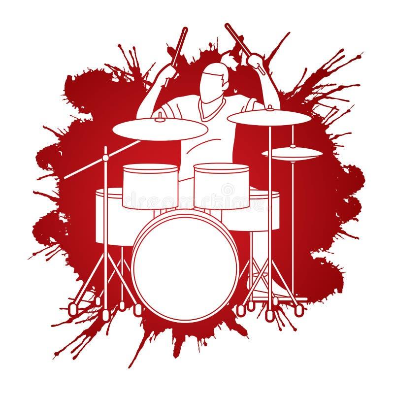 Musicista che gioca tamburo, banda di musica royalty illustrazione gratis