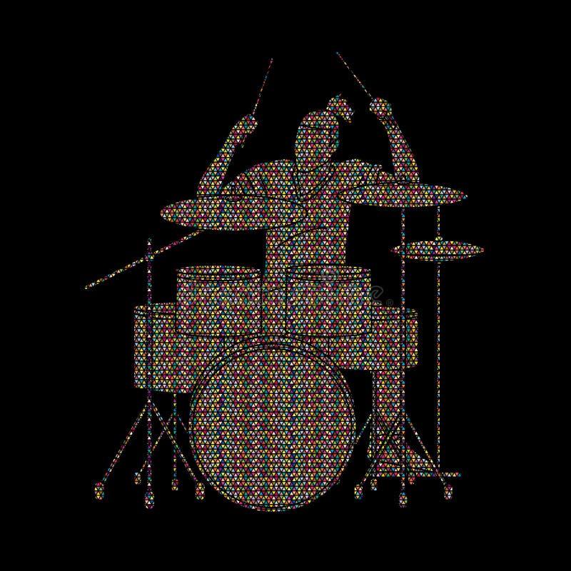 Musicista che gioca tamburo, banda di musica illustrazione di stock