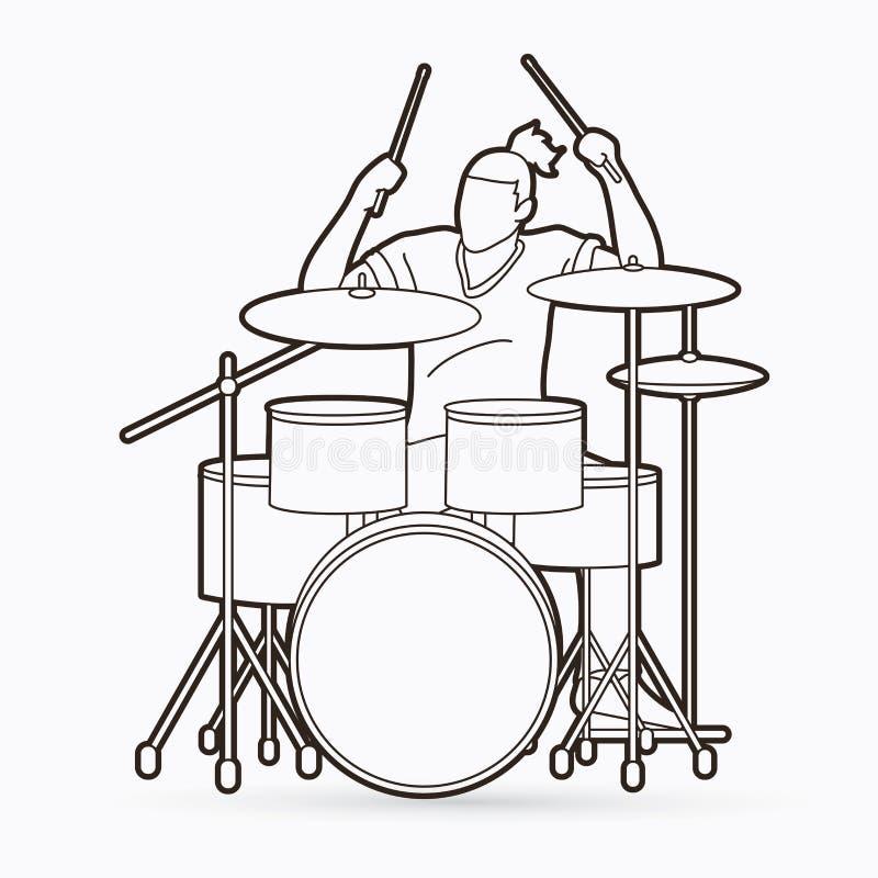 Musicista che gioca tamburo, vettore di musica del batterista royalty illustrazione gratis