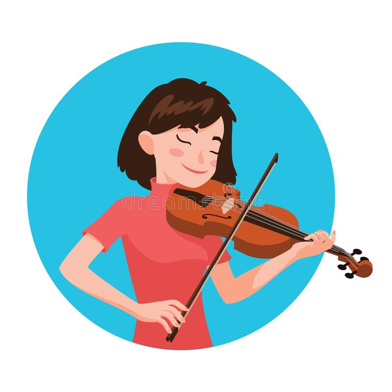 Musicista che gioca violino Il violinista della ragazza è ispirato giocare uno strumento musicale classico Vettore immagini stock libere da diritti
