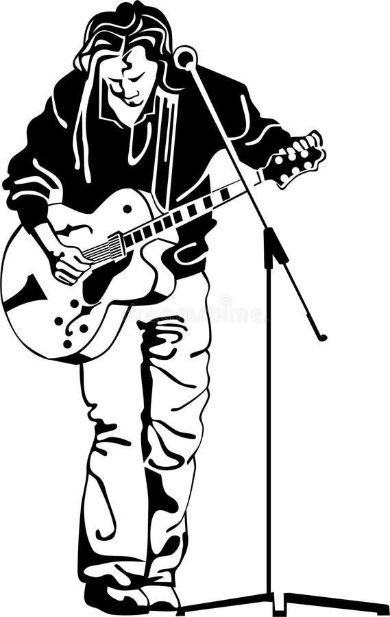 Musicista con la chitarra illustrazione di stock