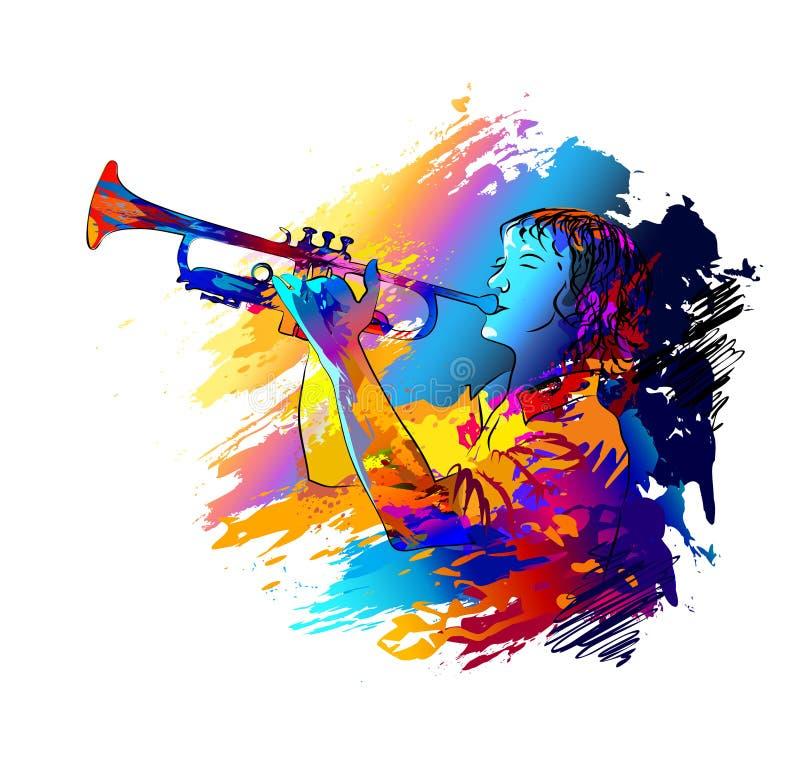 Musicista, giocatore di tromba Illustrazione variopinta di vettore illustrazione vettoriale
