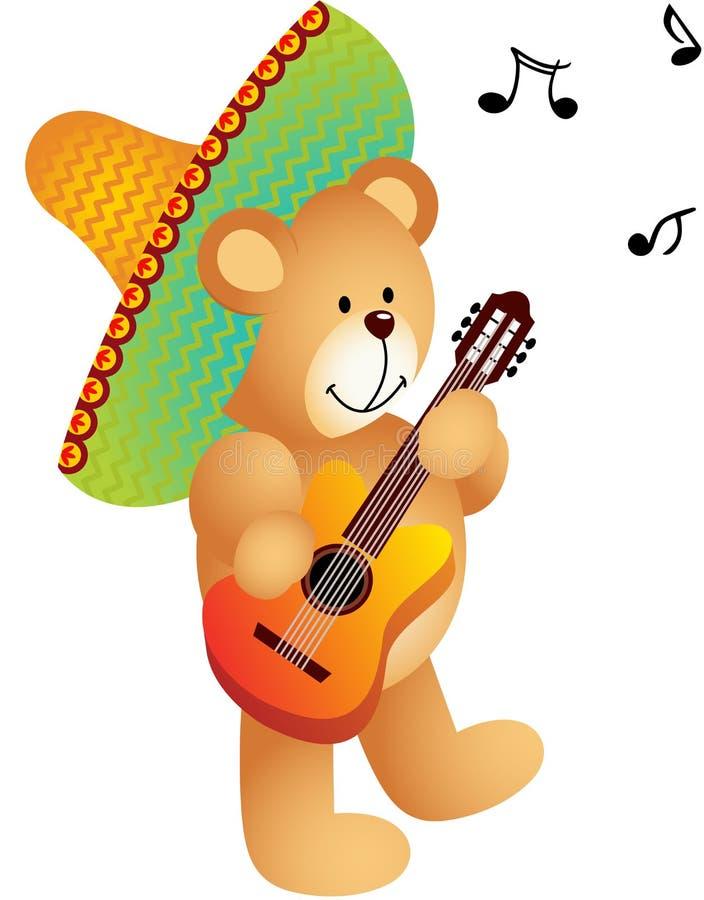 Musicista messicano Teddy Bear illustrazione vettoriale