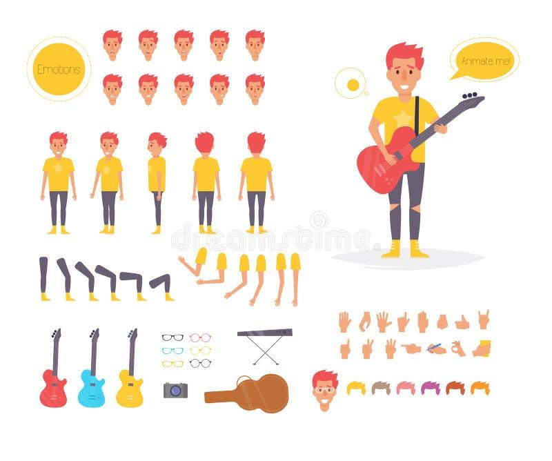Musicista per l'animazione pose royalty illustrazione gratis