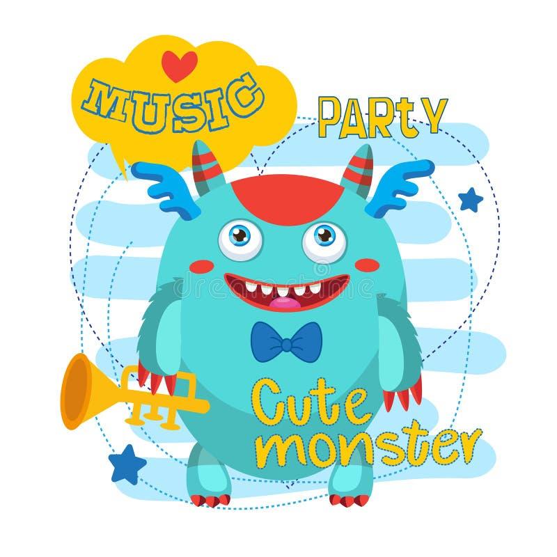 Musicista Pipe Monster Mascotte del mostro del fumetto Università dei mostri Tubo rumoroso dell'oro illustrazione di stock