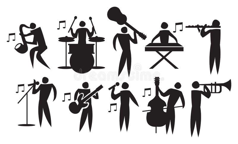 Musicista Vector Icon Set royalty illustrazione gratis