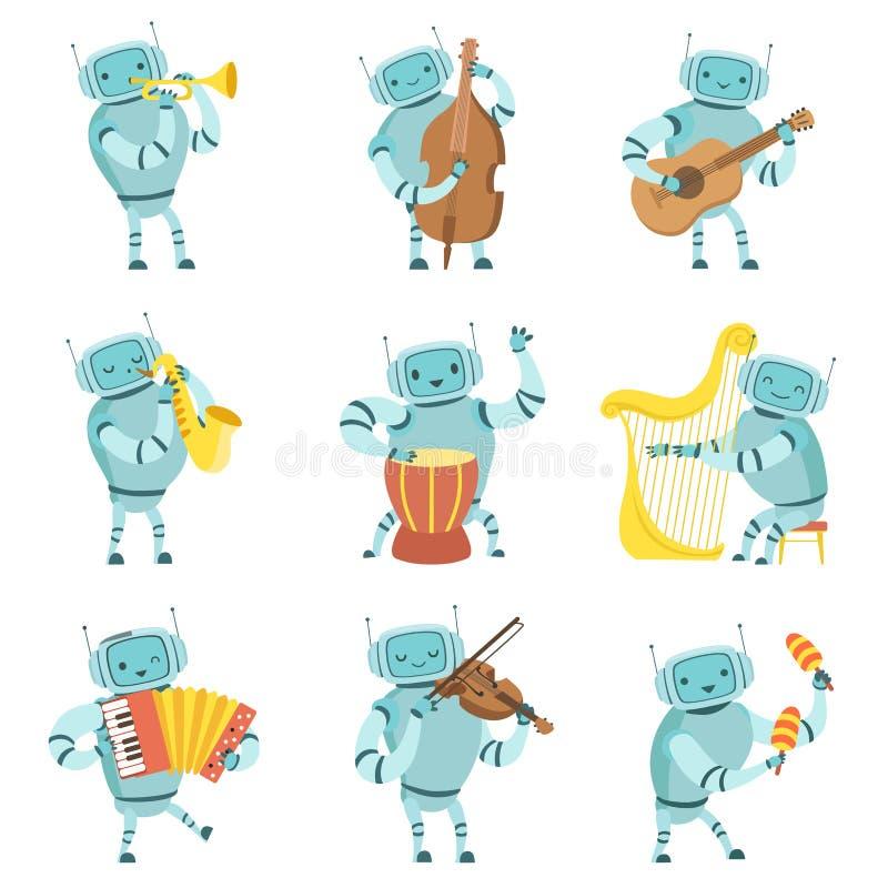 Musicisti dei robot che giocano gli strumenti musicali insieme, robot che gioca violoncello, chitarra, sassofono, tamburo, arpa,  royalty illustrazione gratis