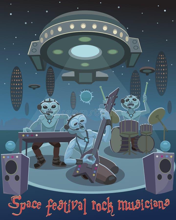 Musicisti della roccia di festival dello spazio illustrazione vettoriale