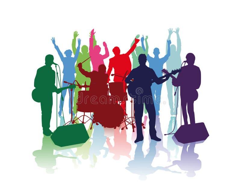 Musicisti di banda e fan incoraggianti illustrazione di stock