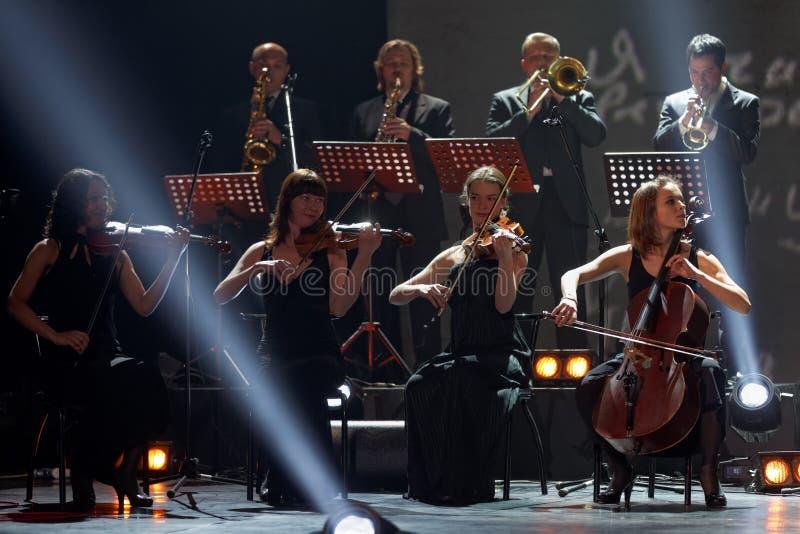 Musicisti in scena del teatro di Taganka fotografia stock libera da diritti