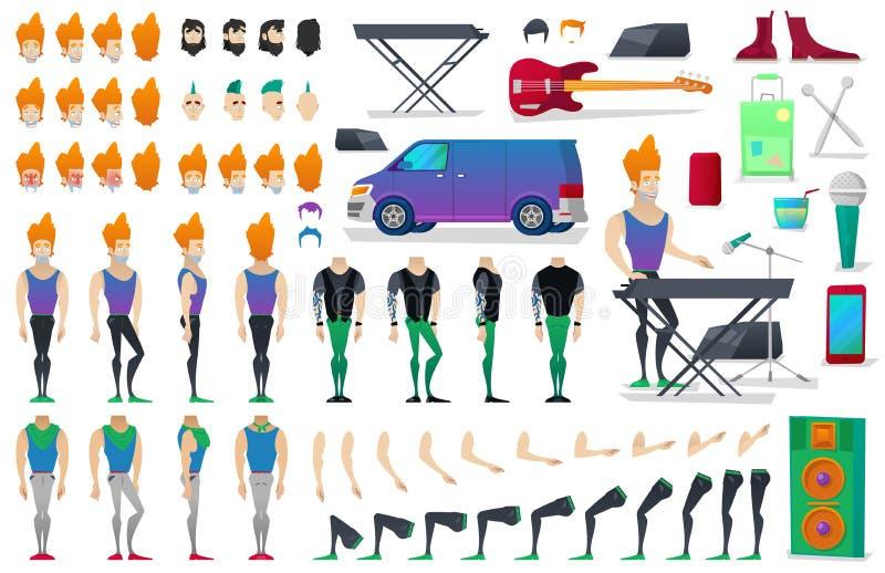Musicus Character Creation Constructor de mens in verschillend stelt Mannelijke Persoon met Gezichten, Wapens, Benen, Kapsels vector illustratie