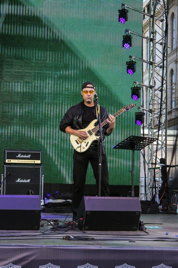 Musicus die de gitaar speelt royalty-vrije stock foto