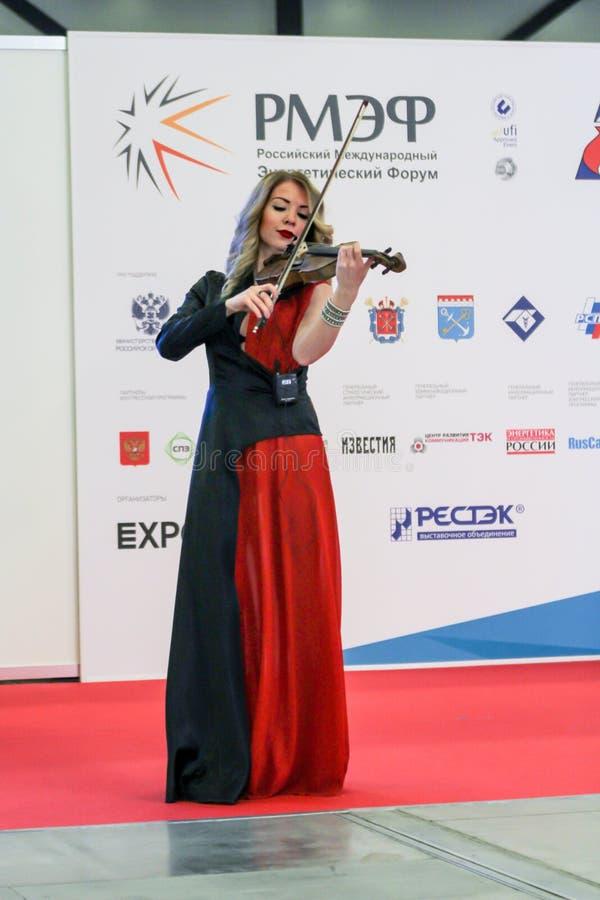 Musicus die de viool speelt royalty-vrije stock foto's