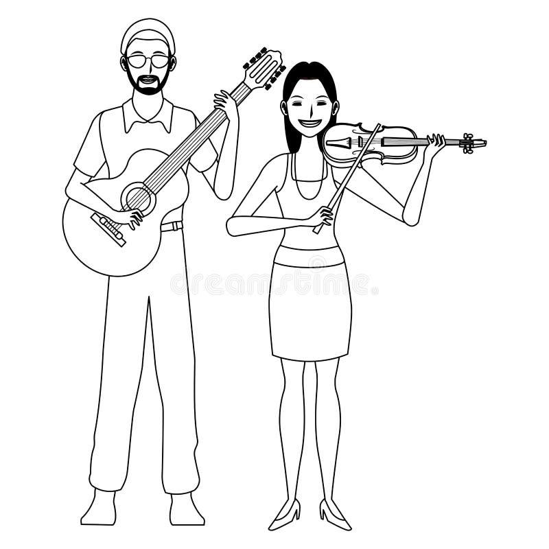 Musicus het spelen zwart-witte gitaar en viool stock illustratie