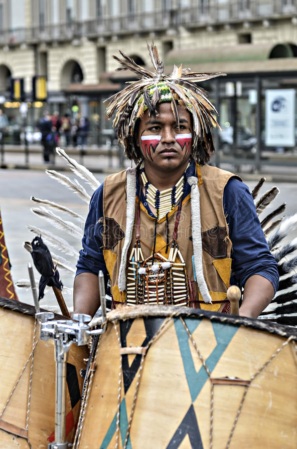 Musicus Native Americans royalty-vrije stock afbeelding