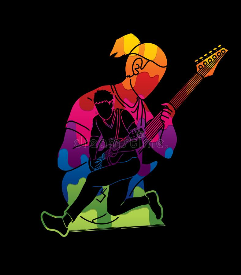 Musicus speelmuziek samen, Muziekband, Mensen die elektrische gitaar spelen stock illustratie