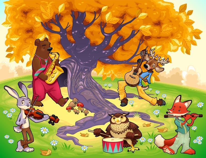 Musicusdieren in een natuurlijk landschap. vector illustratie