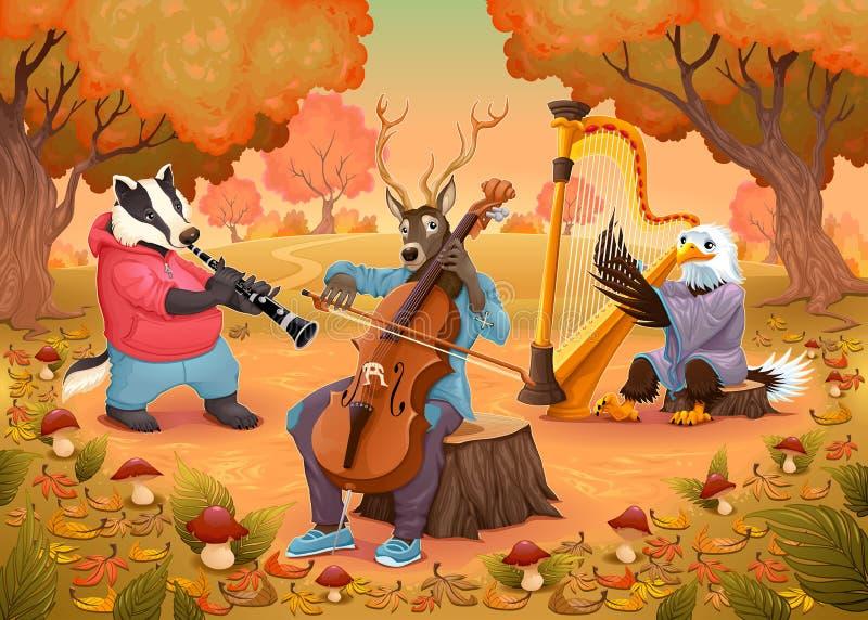 Musicusdieren in het hout stock illustratie