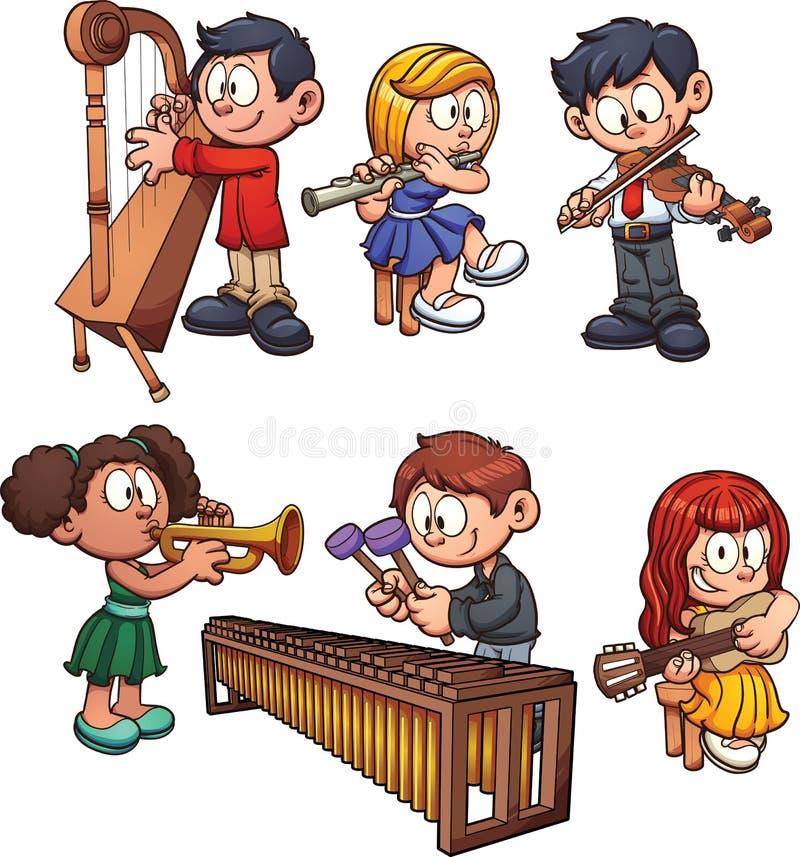 Musicusjonge geitjes royalty-vrije illustratie
