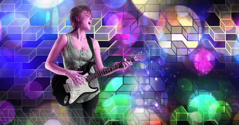 Musicusvrouw het spelen gitaar met geometrische het trefpuntatmosfeer van partijlichten royalty-vrije stock fotografie