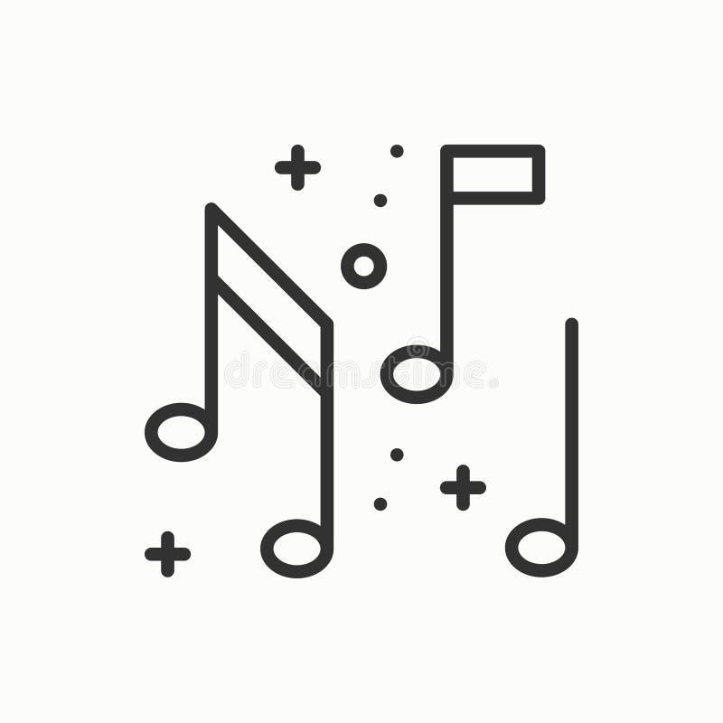 Musik anmärkningssymbol Disko dans, utelivklubba Partiberömfödelsedagen semestrar den festliga händelsekarnevalet Tunt fodra stock illustrationer