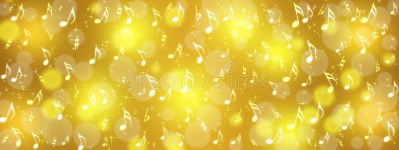 Musik-Anmerkungen, Bokeh und Scheine in der goldenen Hintergrund-Fahne stockbild