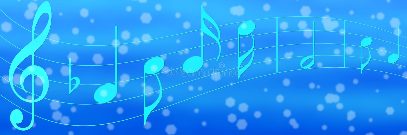 Musik-Anmerkungen im blauen Fahnen-Hintergrund stockbild