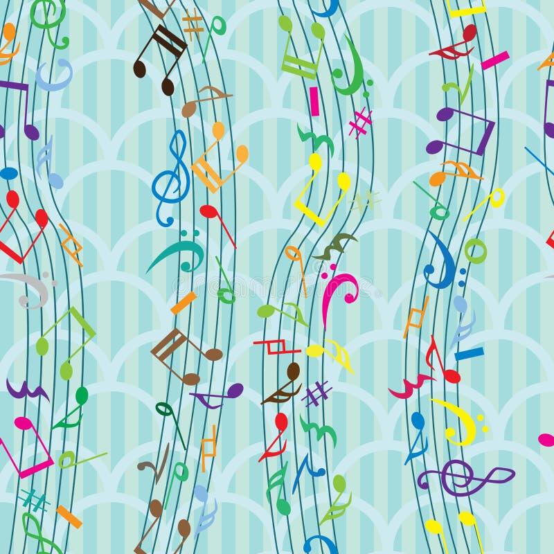 Musik-Anmerkungs-nahtloses Muster stock abbildung