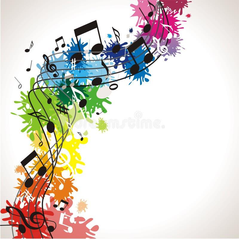 Musik bakgrund med anmärkningar stock illustrationer