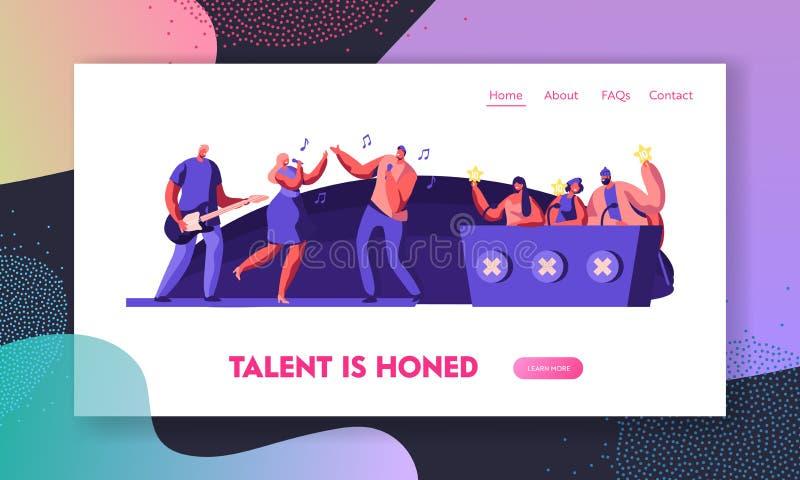 Musik-Band, die Bühnenauftritt vor Richtern für Hörprobe auf Talent-Show darstellt Referent Voting mit goldenen Sternen lizenzfreie abbildung