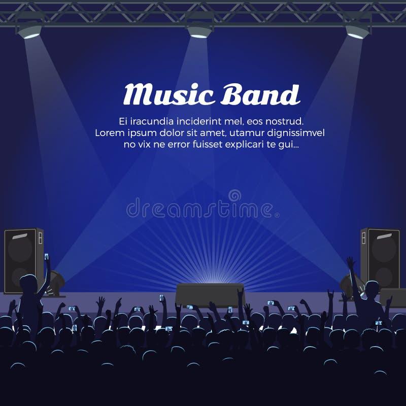 Musik-Band-Konzert in großem Stadium mit Scheinwerfern stock abbildung