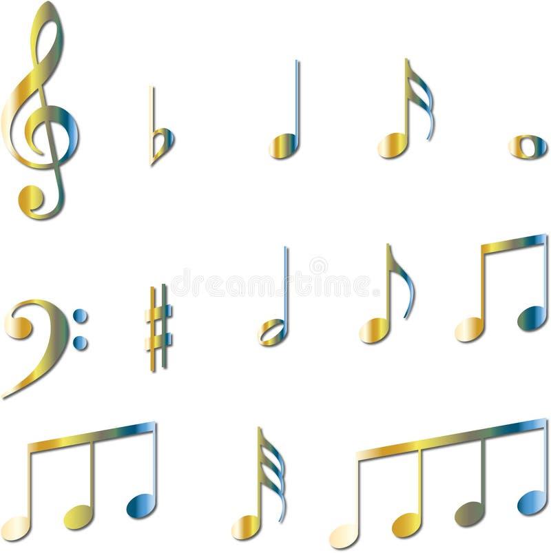 musik bemärker set symboler royaltyfri illustrationer