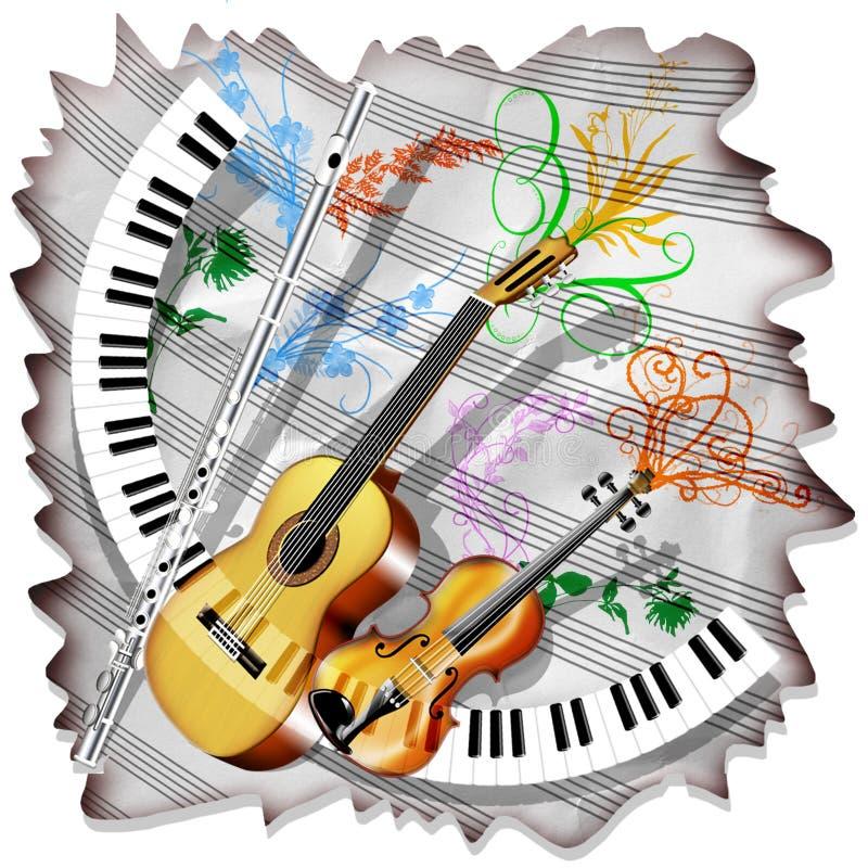 Musik-Blatt und Instrumente vektor abbildung